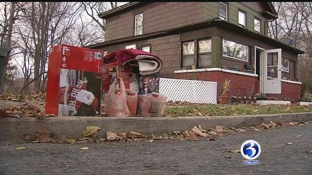 The Lewis family had their Christmas saved by a secret Santa.  (WFSB)