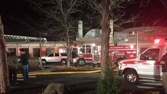 A fire was reported at the Jewish Community Center on Amity Road in Woodbridge on Monday afternoon. (WFSB)