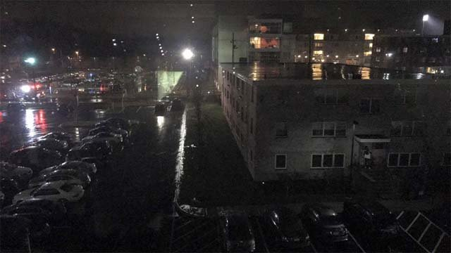 Students at Dunham Dorm at UNH were forced out of their building because of a power outage (Sam Jones)