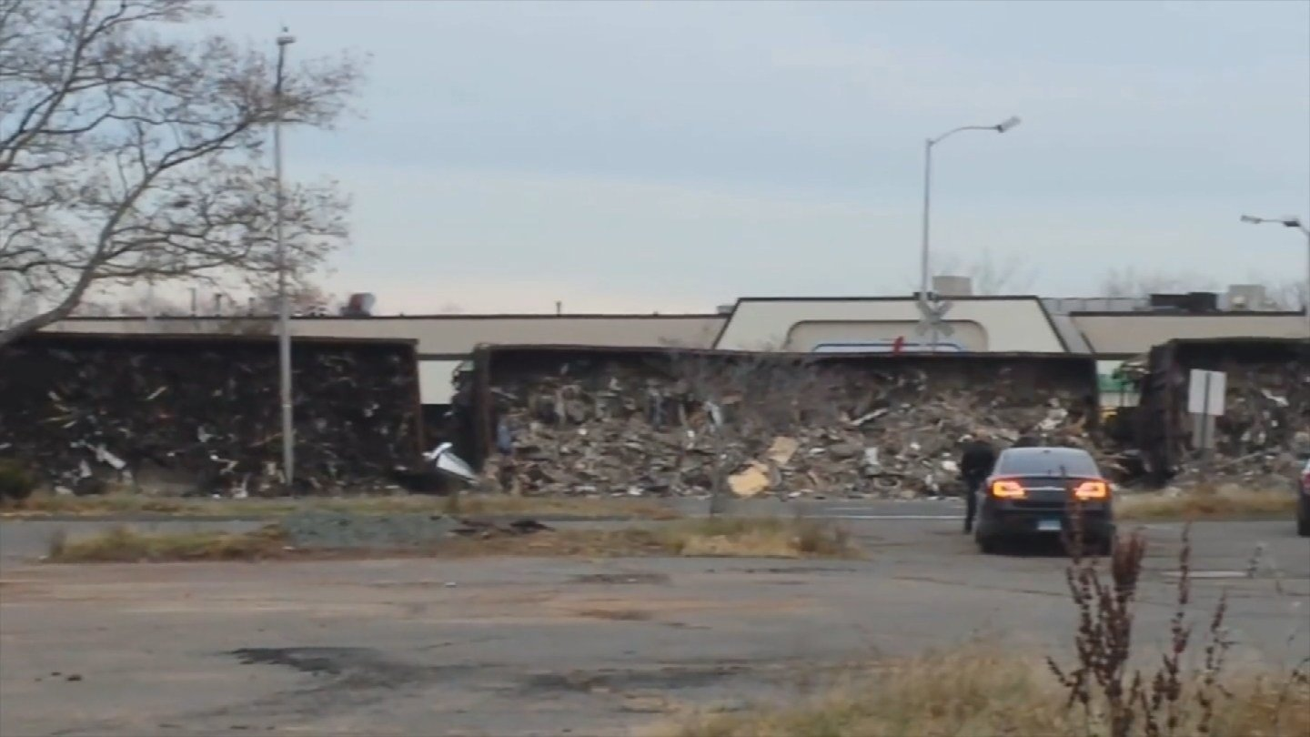 A train derailed in New Britain, leaving construction waste along Columbus Boulevard. (WFSB photo)