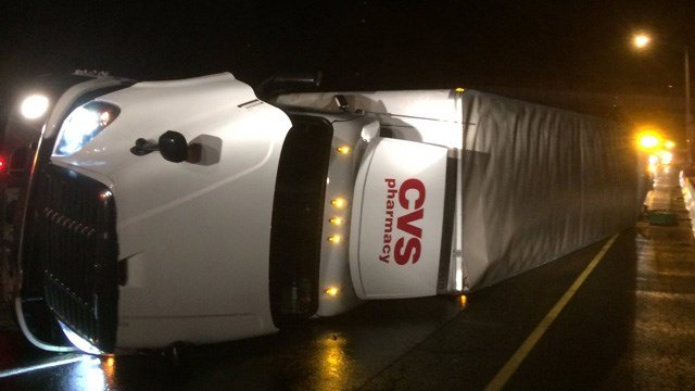 Cleanup of a tractor trailer rollover was expected to last into mid-morning. (State police photo)