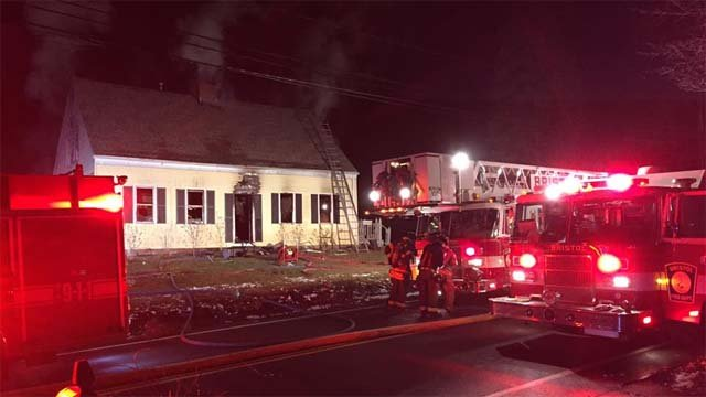 Crews battled a house fire on Fall Mountain Road on Wednesday night. (Bristol Fire Department)