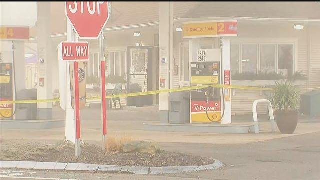 State police set up a search near this Shell station in Ellington. (WFSB photo)