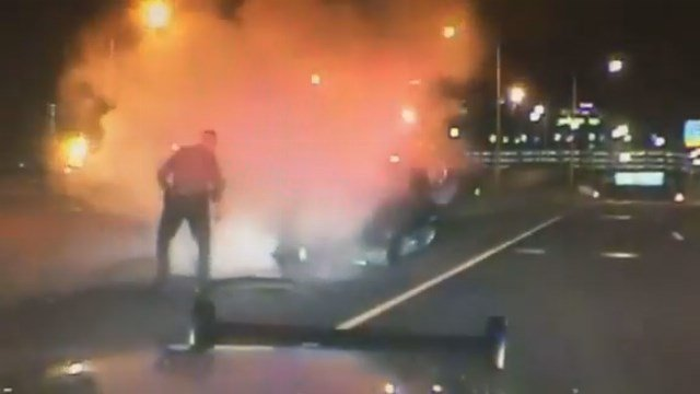 Troopers were able to pull an unconscious driver from a burning motor vehicle on Interstate 91 in Hartford early Friday morning. (CT State Police)