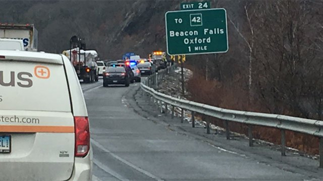 Police are searching along Route 8 for bank robbery suspect. (WFSB)