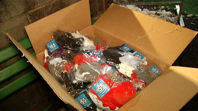 Amazon donated gloves, hats and money to Winterfest. (WFSB)