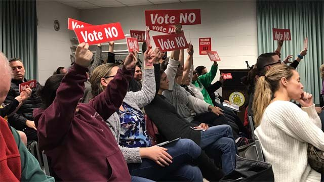 Parents encouraged school board members to vote against closing the school on Tuesday night (WFSB)
