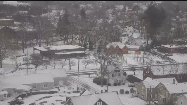 A snow squall moved through Torrington during the 7 a.m. hour on Thursday. (WFSB photo)