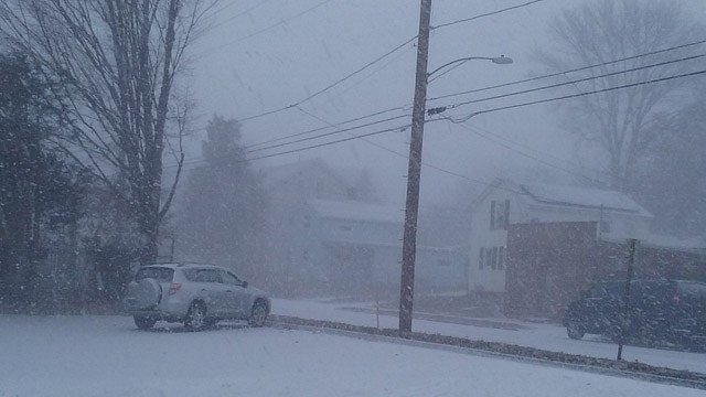 A snow squall have New Britain a quick coat of snow Thursday morning. (Amanda OGarth/iWitness photo)