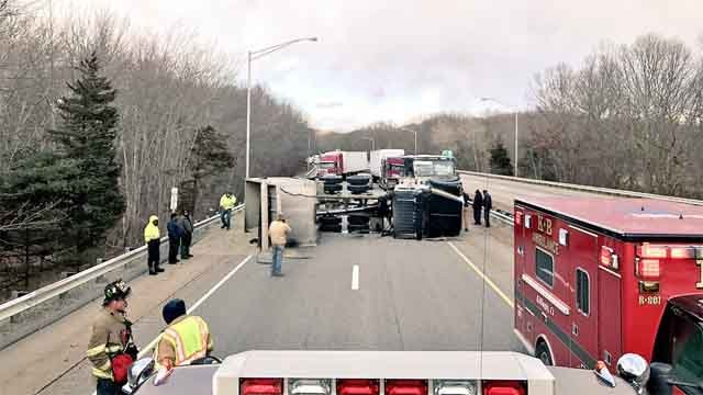 A dump truck overturned on I-395 south in Plainfield on Thursday (Central Village Fire Company photo)