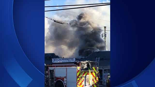 Crews battled a fire at a Westbrook laundromat on Thursday (iwitness)
