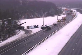 Crash involving a truck on Route 9 northbound in Middletown. (CT DOT)