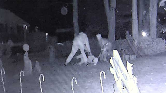 Vandals were caught on camera wrecking a lights display in Simsbury. (submitted)