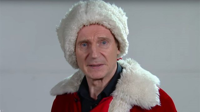 Liam Neeson auditions to be Santa Claus on The Late Show. (CBS/YouTube photo)