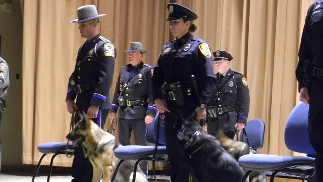 Eight dogs graduated on Thursday morning and are now official members of the Connecticut State Police Canine Training Unit. (CT State Police)