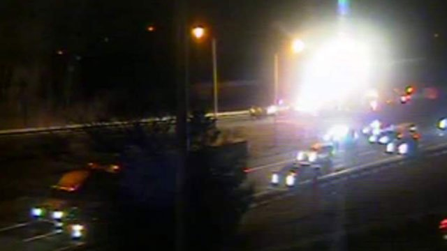 The eastbound side of Interstate 84 in Danbury was closed on Thursday evening. (CT DOT)