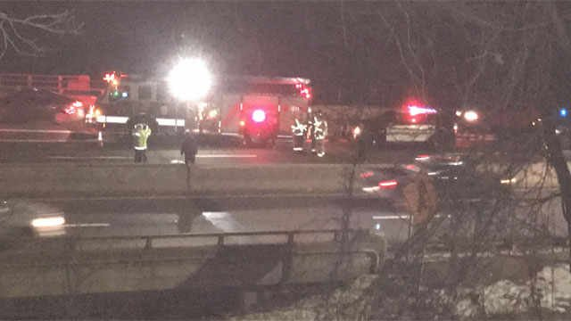 A person was killed after being struck on both sides of Route 8 in Naugatuck. (WFSB photo)