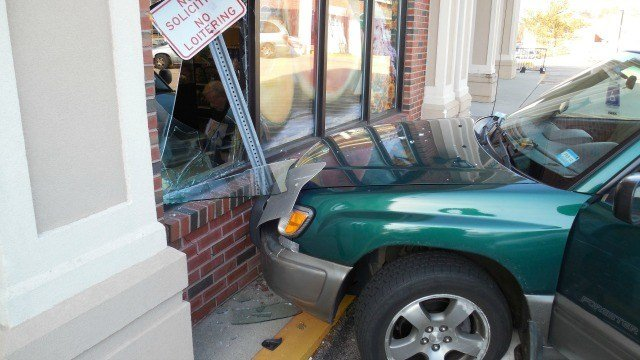 A car crashed into a grocery store in Ledyard Friday. (Ledyard PD)