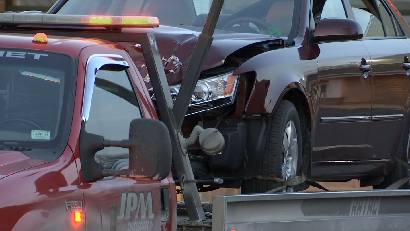 A motor vehicle crash closed Route 83 in Ellington on Friday afternoon.(WFSB)
