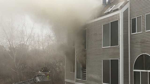 A fire broke out at the Harbour Landing condos in New Haven on Monday (WFSB)