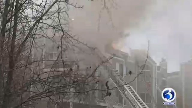 The American Red Cross is helping nine families after a fire at a condo complex in New Haven on Monday. (WFSB)
