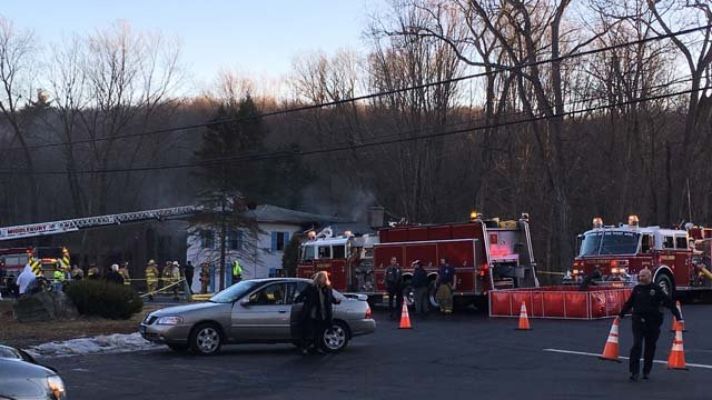 Officials say one person was killed in a fire in Middlebury Tuesday afternoon. (WFSB)