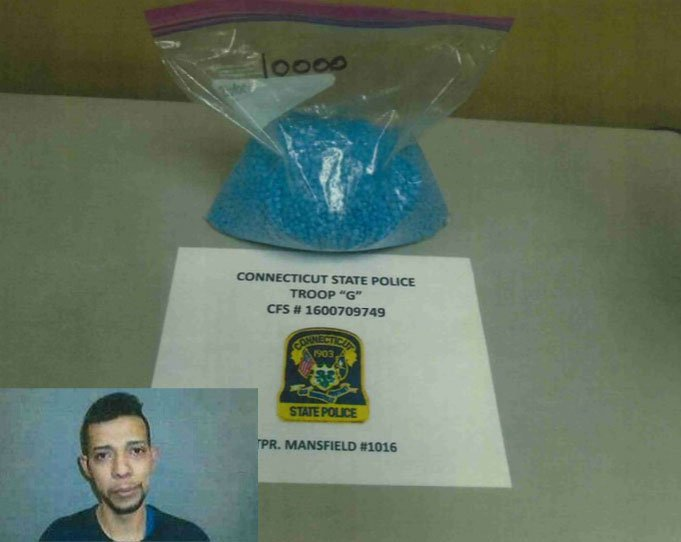 John Torres was arrested after police said he had 10,000 Oxycodone pills in a bag. (Connecticut State Police)