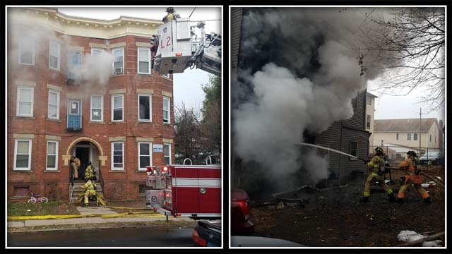 Crews battled a house fire in New Britain Thursday morning (New Britain fire officials)
