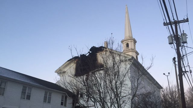 An overnight fire damaged the Thompson Congregational Church. (WFSB)