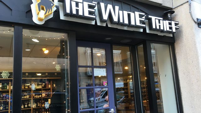 New Haven police investigating a series of smash-and-grab burglaries including at The Wine Thief.(WFSB)