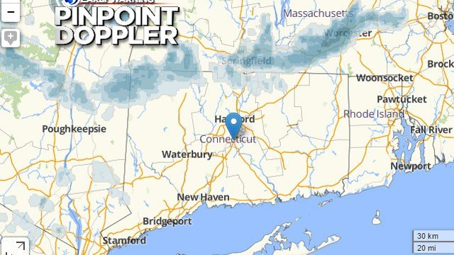 Snow showers moving into the state from Massachusetts and New York State may cause a few headaches.  (WFSB)