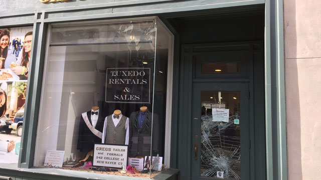 New Haven police investigating a series of smash-and-grab burglaries including at Greg's Tailor Shop. (WFSB)