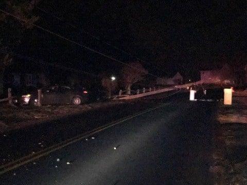 The damage left behind on Winkler Road in East Windsor after a drunk driver struck a utility pole.  (East Windsor Police Dept. Facebook page)
