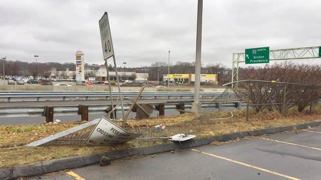 Damage left behind by Velez's alleged crash. (WFSB photo)