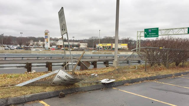 Damage left behind by Velez's alleged crash. (WFSB photo)