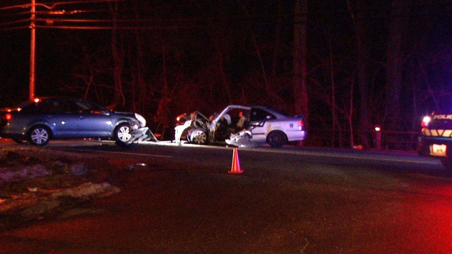 Injuries were reported in a crash in Granby on Wednesday (WFSB)