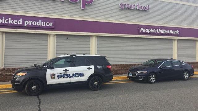 A bank robbery was reported at People's United Bank in the Stop & Shop in Vernon on Thursday. (WFSB)