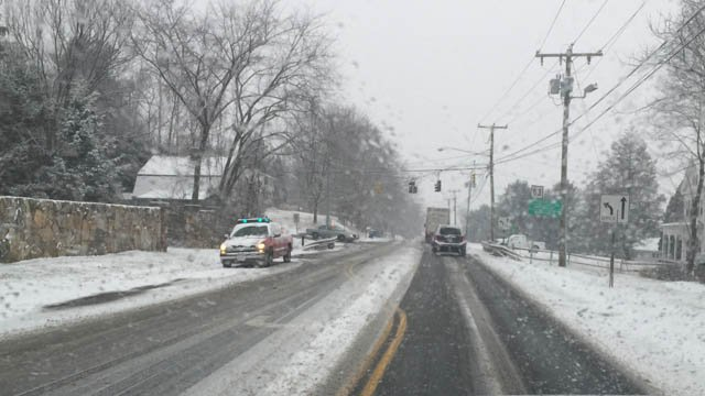 A crash was reported on Mountain Road in Ellington on Friday morning. (WFSB photo)