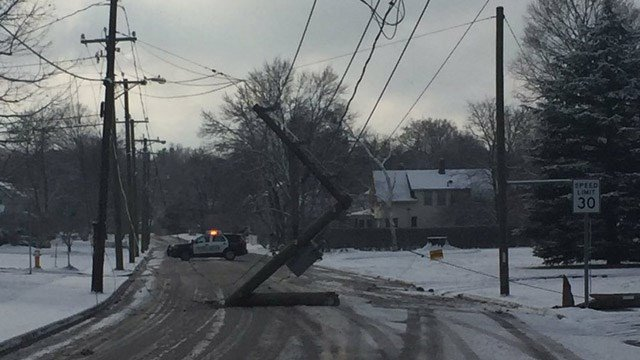 A school bus crashed into a utility pole on Pitkin Street in Manchester on Friday. (Manchester police photo)