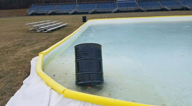 Police are looking for the people who vandalized an ice rink in Ansonia twice this week.(City of Ansonia)