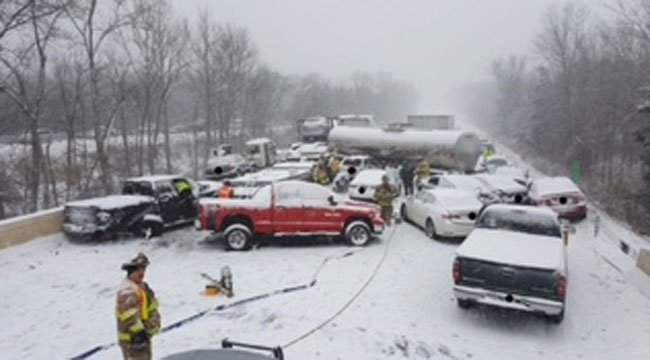 Connecticut State Police released this photo of a crash involving 20 vehicles on southbound side of Interstate 91 in Middletown. (CT State Police)