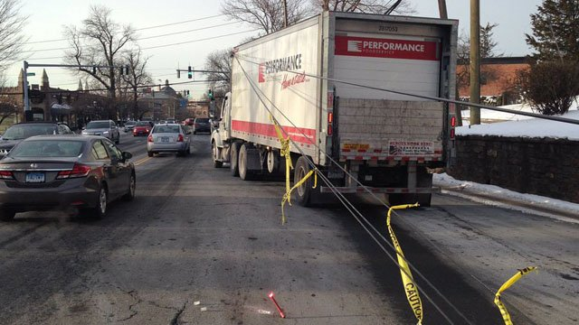 A truck brought down wires on North Maple Avenue in Greenwich. (Greenwich Fire Dept. photo)