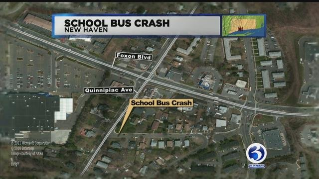 High school students were on board a bus that was involved in a crash in New Haven on Monday morning. (WFSB)
