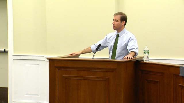 Mayor Luke Bronin spoke to residents in Wethersfield on Monday night (WFSB)