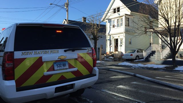 One person taken to hospital after fire in New Haven on Wednesday. (WFSB)