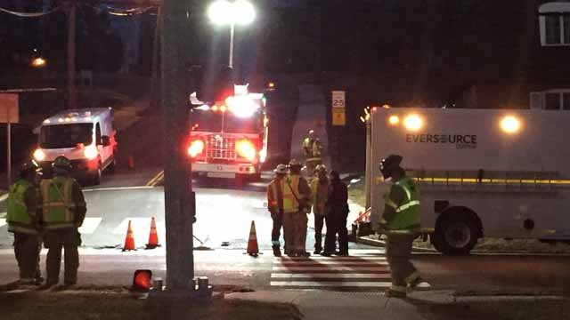 Route 6 in Terryville was closed on Wednesday evening.  (WFSB)
