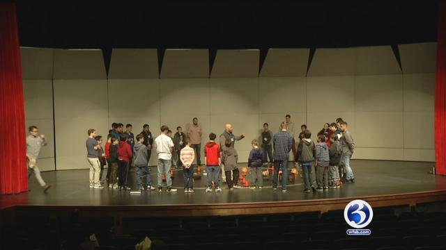 "A ""boys' day"" at Naugatuck High School brought together two groups of students on Thursday. (WFSB)"