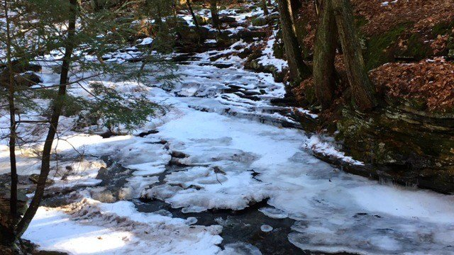 The frozen falls at Grayville Falls Park