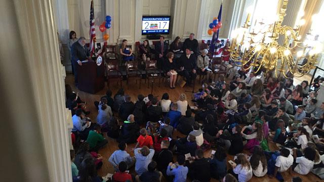 Jessica Brocksom, of the John F. Kennedy School in Milford, was sworn in as kid governor. (WFSB)