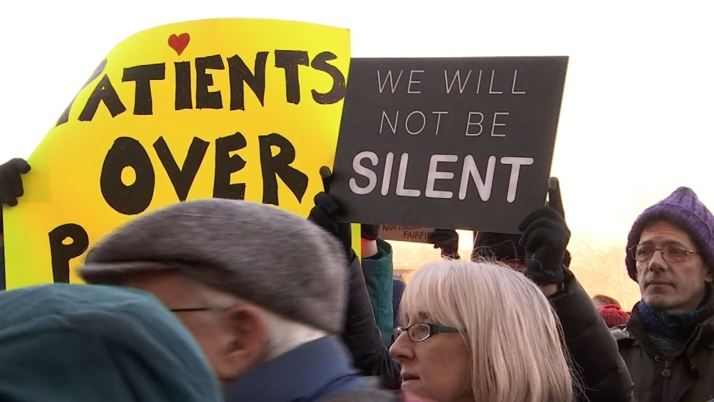 A rally to safe the Affordable Care Act took place Sunday on the steps of the state capitol. (WFSB photo)